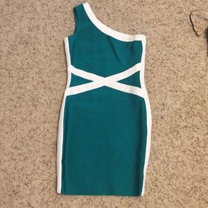 Guess by Marciano Green/Cream Bandage Dress
